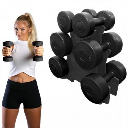 SET GANTERE FAMILY 12 KG  SUPORT INCLUS NEGRU THEWAY FITNESS
